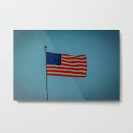 American Flag Flying in Blue Sky Backlit Glow Metal Print