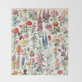 Adolphe Millot - Fleurs pour tous - French vintage poster Throw Blanket
