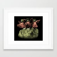 pigs Framed Art Prints featuring War Pigs by Josh Billings