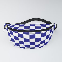 Navy Blue and White Large Check Fanny Pack