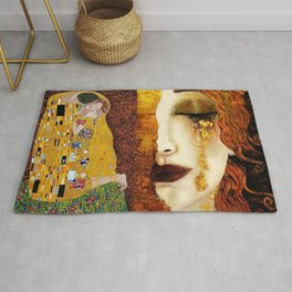 Gustav Klimt: The Kiss & Freya's Tears golden-red flower anemone college portrait painting Rug