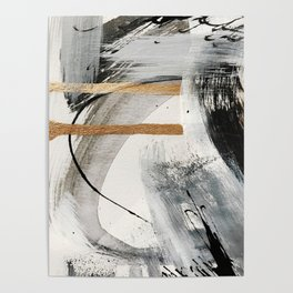 Armor [7]: a bold minimal abstract mixed media piece in gold, black and white Poster