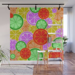 Citrus Explosion - A Pattern of Many Fruits from the Citrus Family Wall Mural