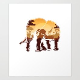Elephant Safari Animals Zoo Zookeepers Rescue Animal Nature Veterinarian Forest Gift Art Print
