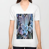 succulent V-neck T-shirts featuring succulent plant by  Agostino Lo Coco