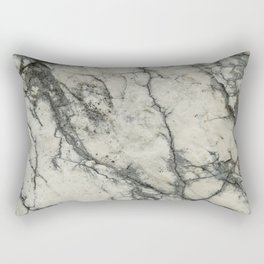 The white stone with dark grey veins Rectangular Pillow