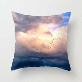 Birds in the sunset Throw Pillow