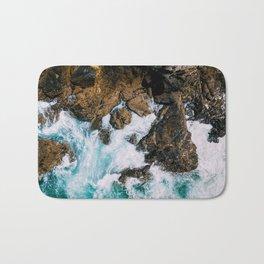 Ocean Waves Crushing On Rocky Landscape, Drone Photography, Aerial Landscape Photo, Ocean Wall Art Bath Mat