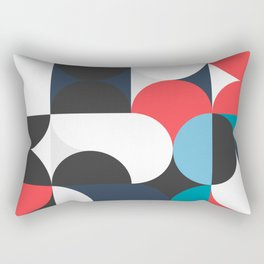 Circles Curves Shapes, Abstract and Geometry, Red, White, blues, black Rectangular Pillow