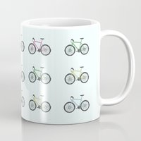 bicycles Mugs featuring Bicycles by amyhartdesign