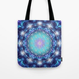 Flower Of Life Mandala Fractal turquoise Tote Bag
