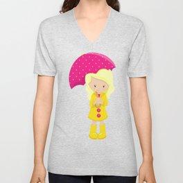Girl With Blonde Hair, Yellow Raincoat, Umbrella Unisex V-Neck