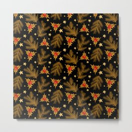 Golden Christmas Holly Berry Tree Branches Pattern Metal Print