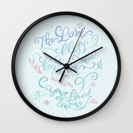 You Are Loved Mom - Number 6:24 - Polka dots Wall Clock