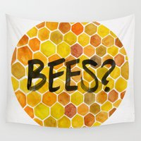 bees Wall Tapestries featuring BEES? by Cat Coquillette