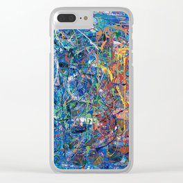 Blue Sprinkles Clear iPhone Case