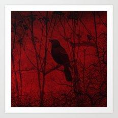 Little bird on the tree, dark, night, red, scary Art Print