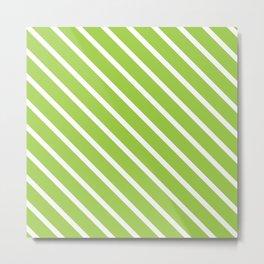 Fresh Guacamole Diagonal Stripes Metal Print