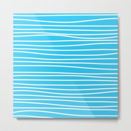 Simply small aqua and white handrawn stripes - horizontal - for your summer on #Society6 Metal Print