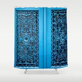 Blue Door in Paris Shower Curtain