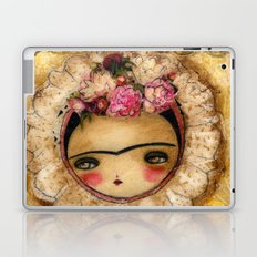 Frida In A Brown And Green Tehuana Mexican Traditional Dress Laptop & iPad Skin