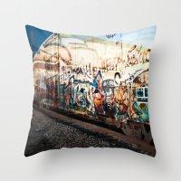 grafitti Throw Pillows featuring Grafitti Train by Squint Photography