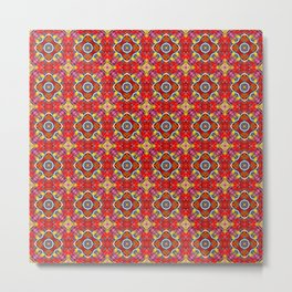 Patricia Red Geometric Stained Glass Pattern Metal Print