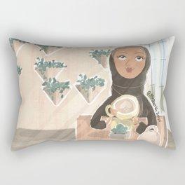 Young Emirati lady enjoying a cappuccino in a café in Amman wearing abaya Rectangular Pillow