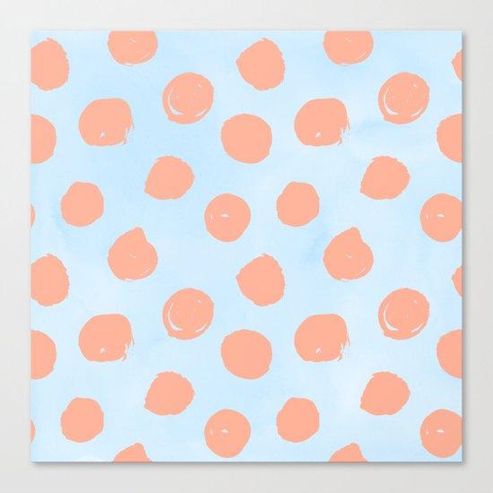 Sweet Life Dots Peach Coral Pink + Blue Raspberry Canvas Print