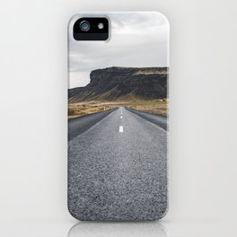 Icelandic Road to Mountains, Landscape Wilderness Adventure Highway iPhone Case