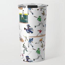 Fun Baseball Players Illustrations Pattern Travel Mug