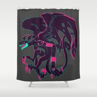 digimon Shower Curtains featuring digital devil dragon by Criminal Crow