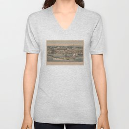 Vintage Pictorial Map of The 6th Street Wharf - Washington DC Unisex V-Neck