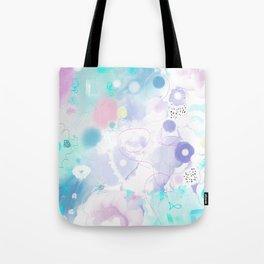 Peinture digitale tons pastels fleurs nuages bulles rose vert bleu jaune blanc Tote Bag