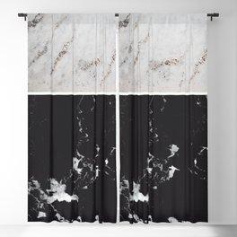 White Glitter Marble & Black Marble #1 #decor #art #society6 Blackout Curtain