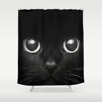 black cat Shower Curtains featuring Black Cat by Maioriz Home