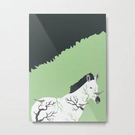 Zebra in the Woods Metal Print