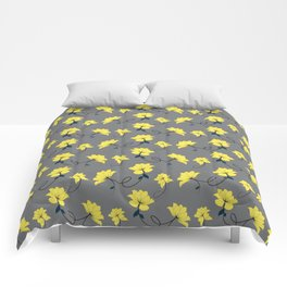 Yellow Flowers on Gray/Grey background, floral pattern Comforters
