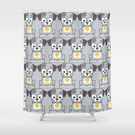 Super cute animals - Cute Grey Silver Puppy Dog Shower Curtain