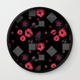Watercolor . Red poppies .  Black . Wall Clock