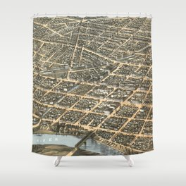 Vintage Pictorial Map of Dayton Ohio (1870) Shower Curtain