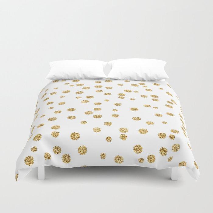 Gold glitter confetti on white - Metal gold dots Duvet Cover