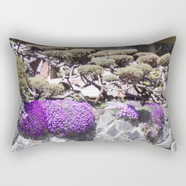 Rock Retaining Wall With Beautiful Trees and Purple Flowers Rectangular Pillow