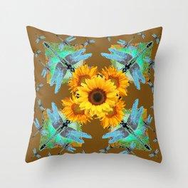 MODERN SUNFLOWERS BLUE DRAGONFLIES BROWN ABSTRACT Throw Pillow