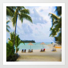A Dreamy Day at a Tahitian Beach, Bora Bora Art Print