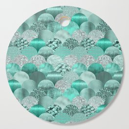 Green Turquoise Glamour Mermaid Scale Pattern Cutting Board