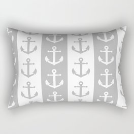Nautical Sailor Stripes with Anchor Pattern Gray 241 Rectangular Pillow