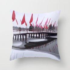 Snow Covered Foot Bridge Throw Pillow