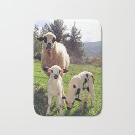Ewe and Twin Spring Lambs Bath Mat