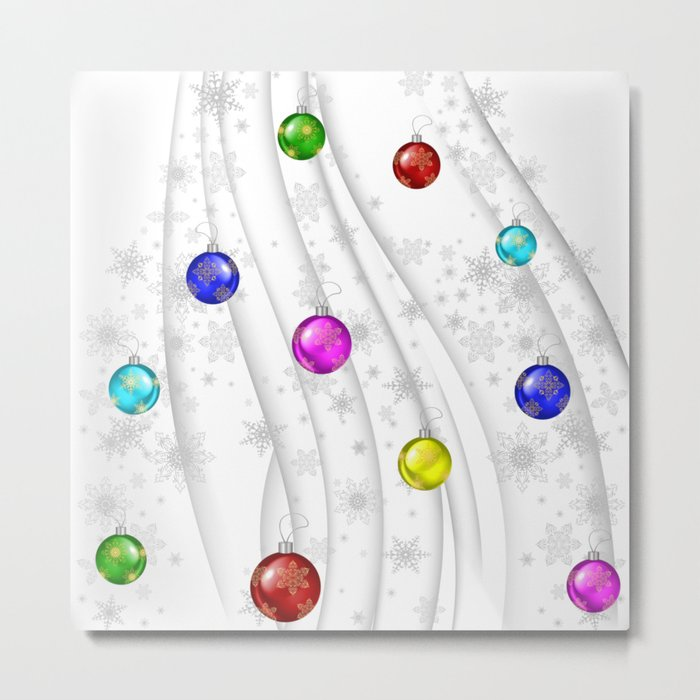 Christmas balls with background Metal Print